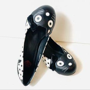 tuk kitten polka dot heels size 8 women black white pumps FM2440 Slip On shoe
